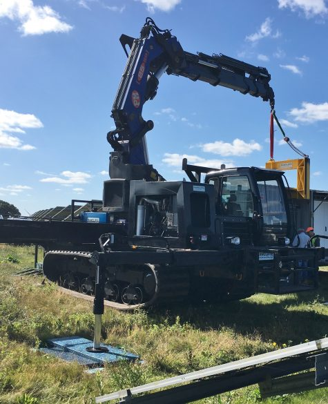 Tracked Machine with Crane in Solar Field